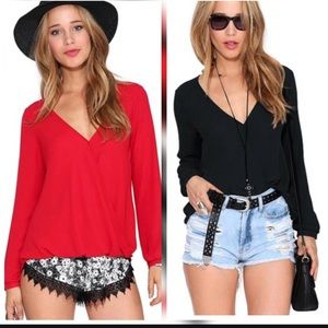 •V Neck Sexy Casual fitted bottom blouse